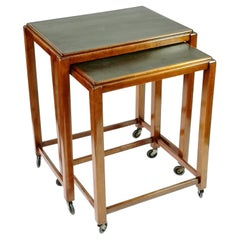 Art Deco Stacking Side Tables with Linoleum Top, on Wheels, Set of 2, 1930's