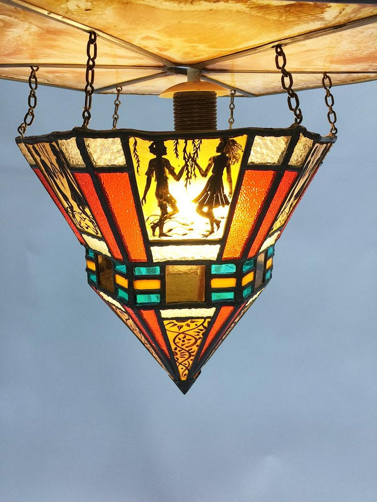 Dutch Art Deco Stained Glass Ceiling Lamp For Sale