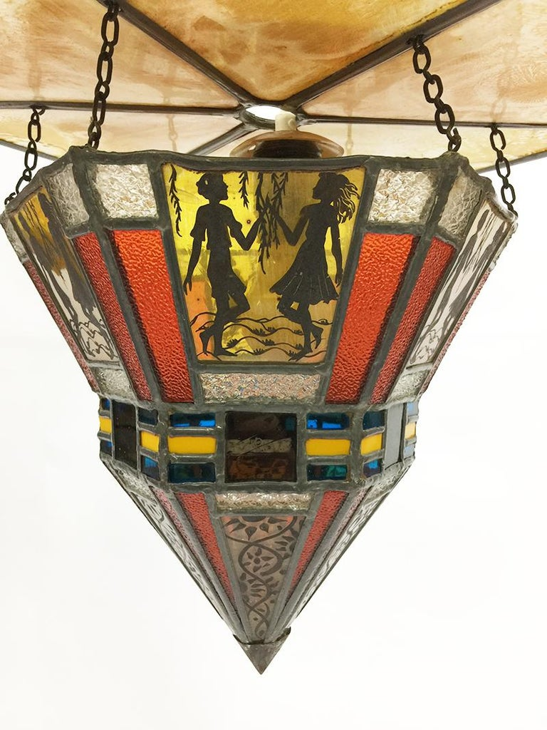 20th Century Art Deco Stained Glass Ceiling Lamp For Sale