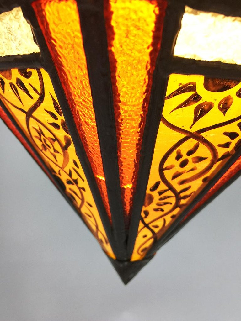 Art Deco Stained Glass Ceiling Lamp For Sale 1