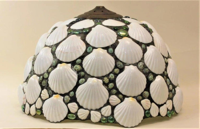 American Art Deco Stained Glass & Seashell Chandelier Pendant, Shade, organic modern For Sale