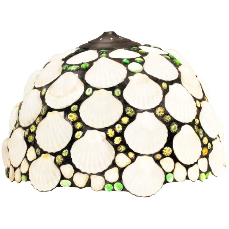 Art Deco Stained Glass & Seashell Chandelier Pendant, Shade, organic modern In Good Condition For Sale In Brooklyn, NY