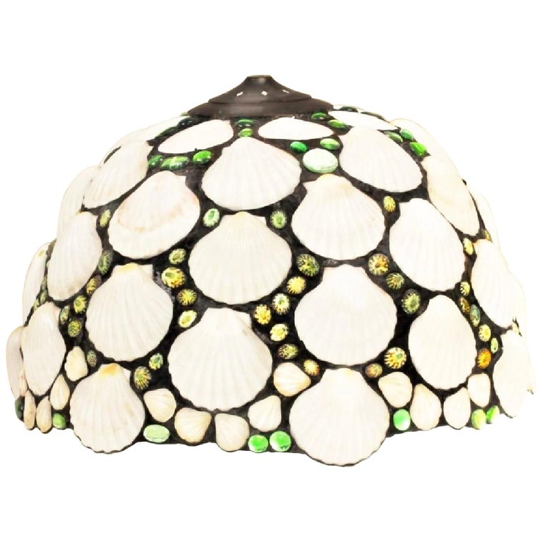 Art Deco Stained Glass & Seashell Chandelier Pendant, Shade, organic modern For Sale