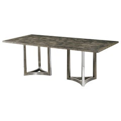 Art Deco Stainless Steel Base Dining Table