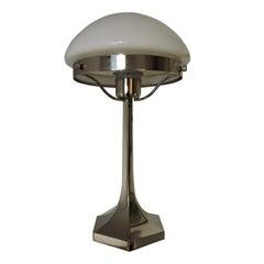 Art-Deco-Edelstahl Tischlampe aus Lustrerie Deknudt, 1920er Jahre