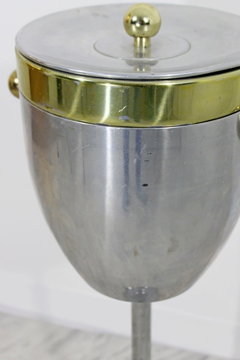 Art Deco Standing Champagne Ice Cooler Aluminium and Brass For Sale 2