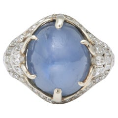 Art Deco Star Sapphire and Diamond Platinum Ring