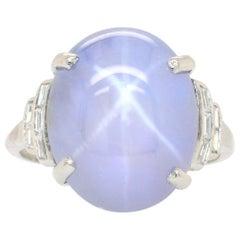 Art Deco Star Sapphire and Diamond Ring, 1920s