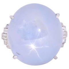 Art Deco Star Sapphire Cabochon Diamond Platinum Cocktail Ring