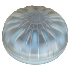 Art Deco Starburst Circular Covered Box in Opalescent Glass by Hunebelle