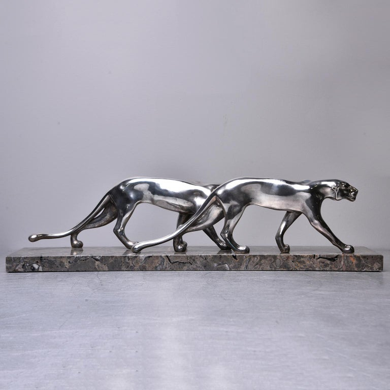 French Art Deco Statue of Two Panthers with Marble Base For Sale