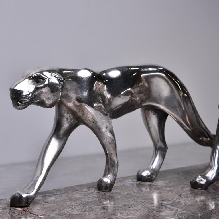 Cast Art Deco Statue of Two Panthers with Marble Base For Sale
