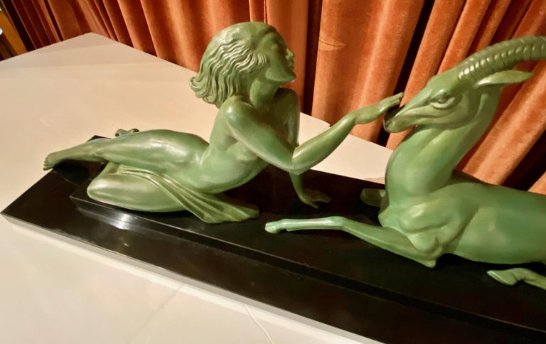 Art Deco Statue Seduction by Fayral for LeVerrier For Sale 2