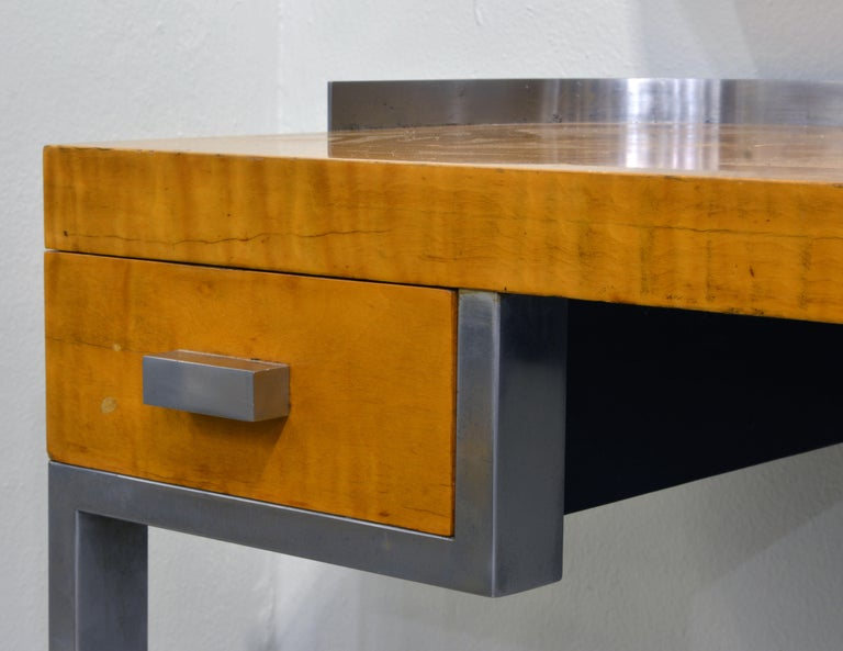 Art Deco Steel and Maple Vanity Desk and Mirror in the Manner of Donald Deskey 3