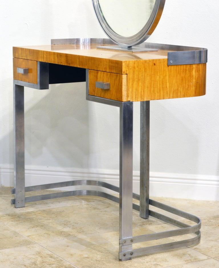 Veneer Art Deco Steel and Maple Vanity Desk and Mirror in the Manner of Donald Deskey