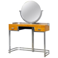 Art Deco Steel and Maple Vanity Desk and Mirror in the Manner of Donald Deskey