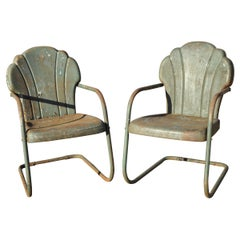 Art Deco Steel Metal Clam Shell Back Green Patio Bouncer Lounge Chairs, a Pair