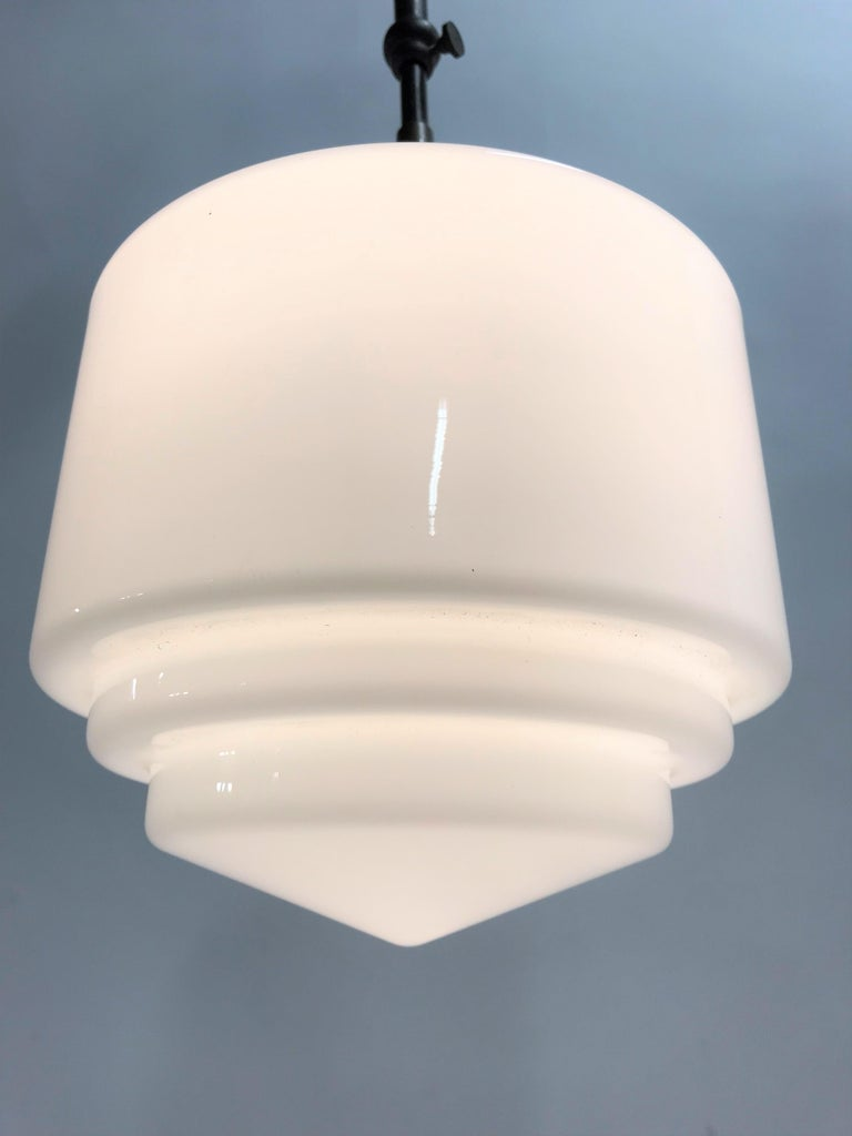 Art Deco Stepped Opaline Pendant Light, 1930s 2