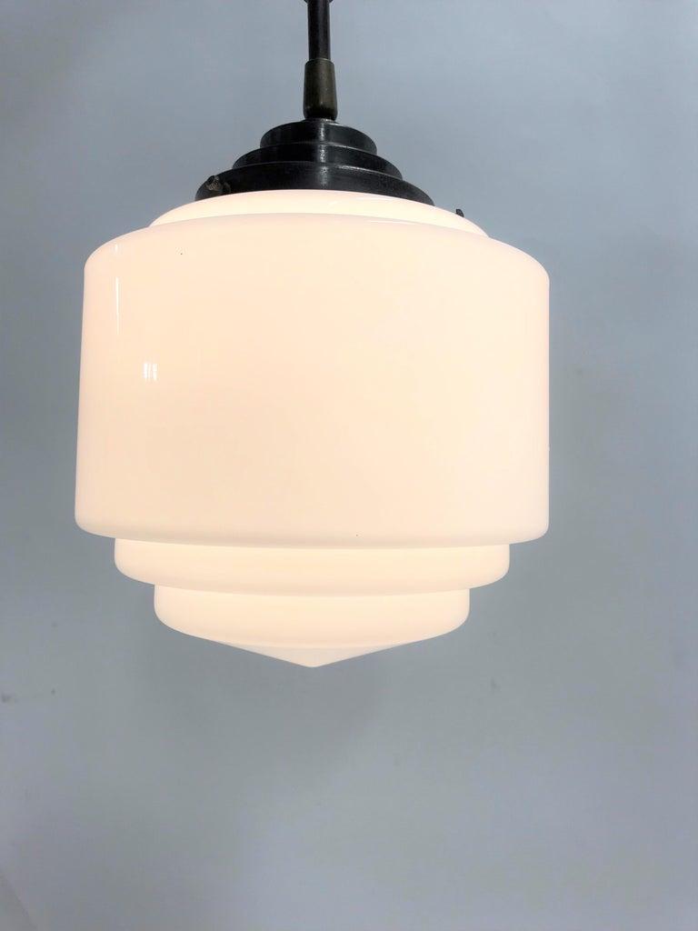 Art Deco Stepped Opaline Pendant Light, 1930s 8