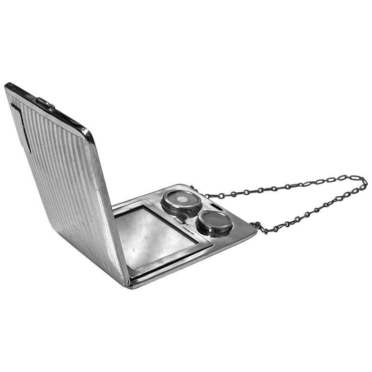 Art Deco Sterling Combination Sovereign Compact Card Case, American, circa 1920 For Sale