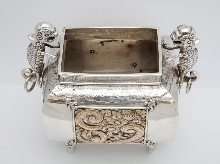 Meiji Period Sterling Silver '.950' Footed Japanese Centerpiece For Sale 5