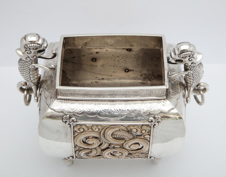 Meiji Period Sterling Silver '.950' Footed Japanese Centerpiece For Sale 6