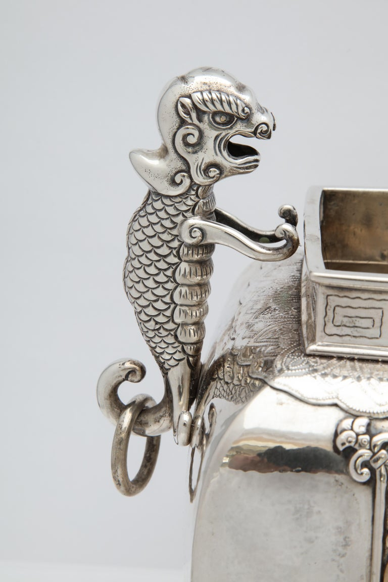 Early 20th Century Meiji Period Sterling Silver '.950' Footed Japanese Centerpiece For Sale