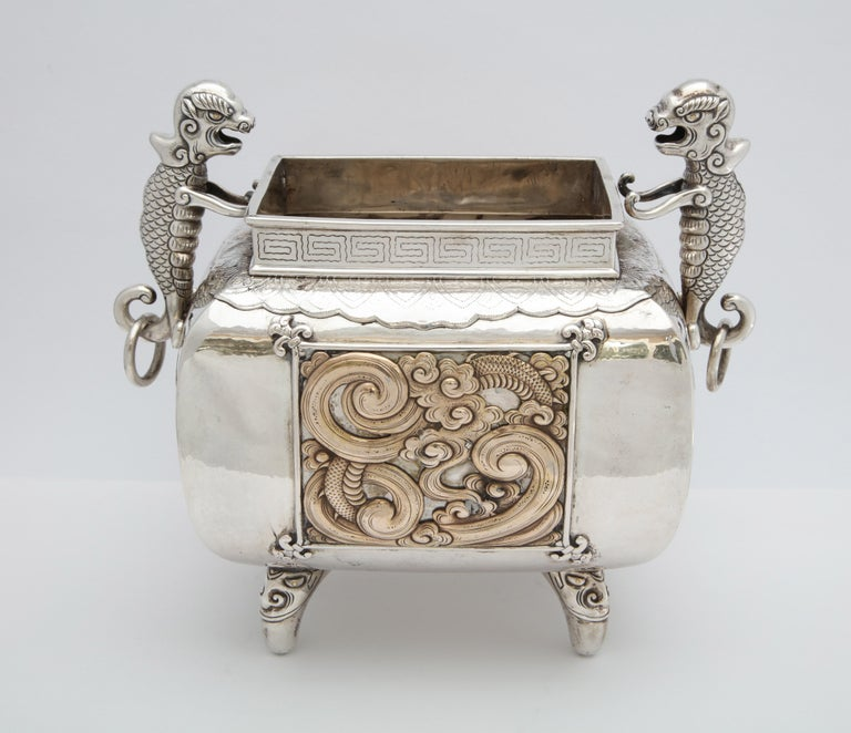 Meiji Period Sterling Silver '.950' Footed Japanese Centerpiece For Sale 3