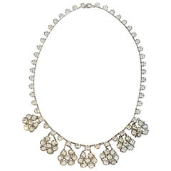 Art Deco Sterling silver and Crystal dangling necklace