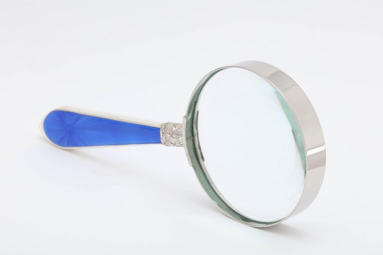Art Deco Sterling Silver and Deep Blue Guilloche Enamel-Mounted Magnifying Glass 6