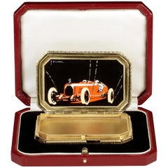Art Deco Sterling Silver and Enamel Austro-Daimler Racing Car Pillbox, 1928