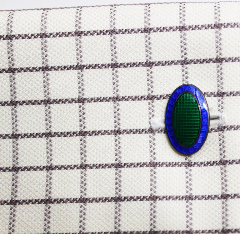 Art Deco Sterling Silver and Enamel Blue and Green Grid Pattern Cufflinks In Good Condition For Sale In Lexington, KY