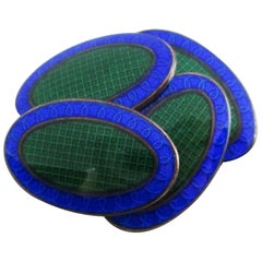 Art Deco Sterling Silver and Enamel Blue and Green Grid Pattern Cufflinks