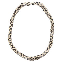 Art Deco Sterling Silver and Enamel Checkerboard Graphic Necklace