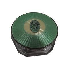 Art Deco Sterling Silver and Enamel Powder Jar with Jade Applique