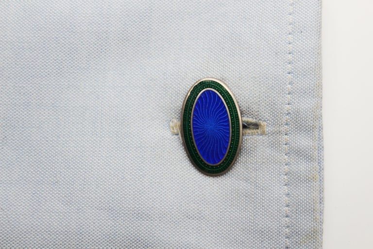 Women's or Men's Art Deco Sterling Silver and Enamel Royal Blue and Green Cufflinks For Sale