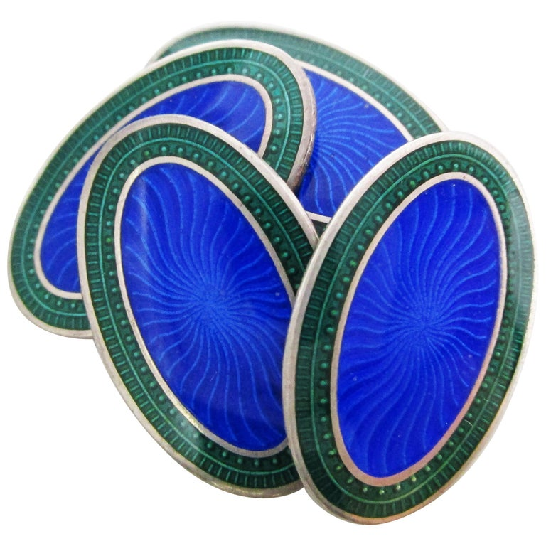 Art Deco Sterling Silver and Enamel Royal Blue and Green Cufflinks For Sale