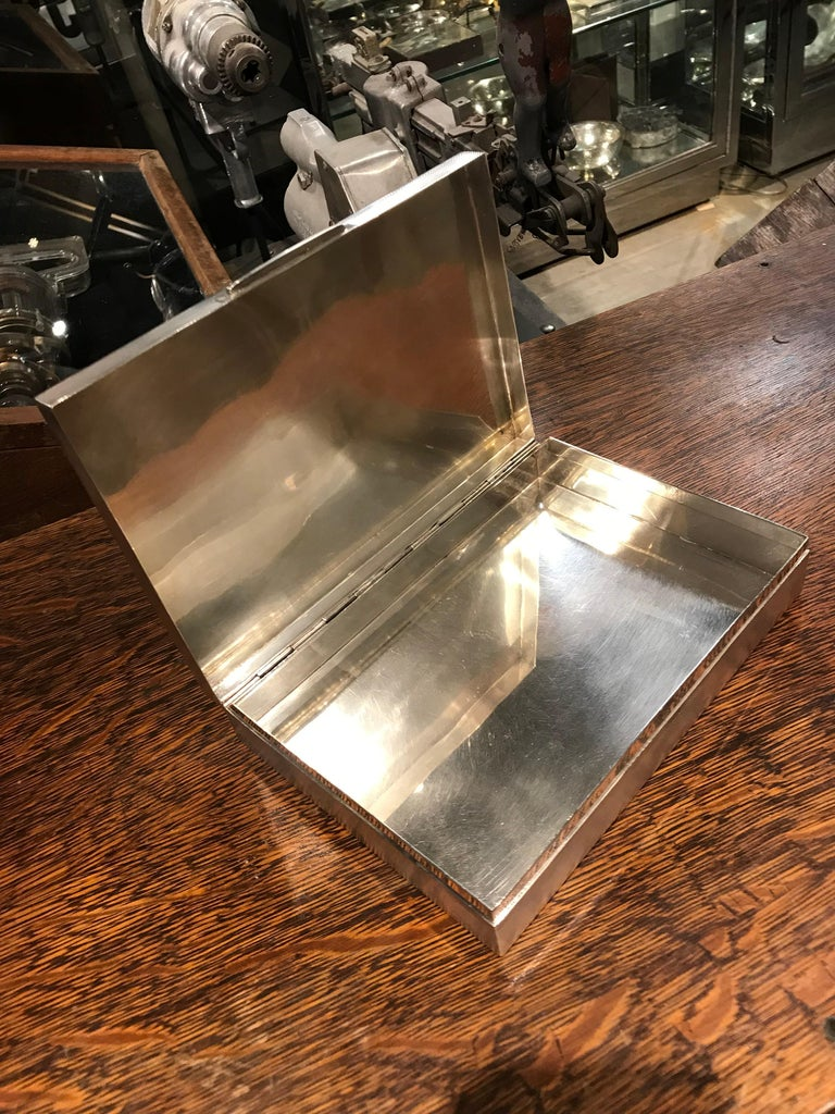 European Art Deco Sterling Silver and Shagreen Box For Sale