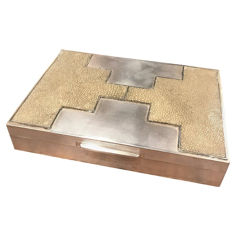 Art Deco Sterling Silver and Shagreen Box For Sale