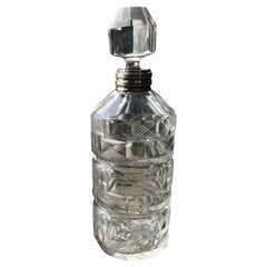 Art Deco Sterling Silver Baccarat Bottle, Italy, 1940s