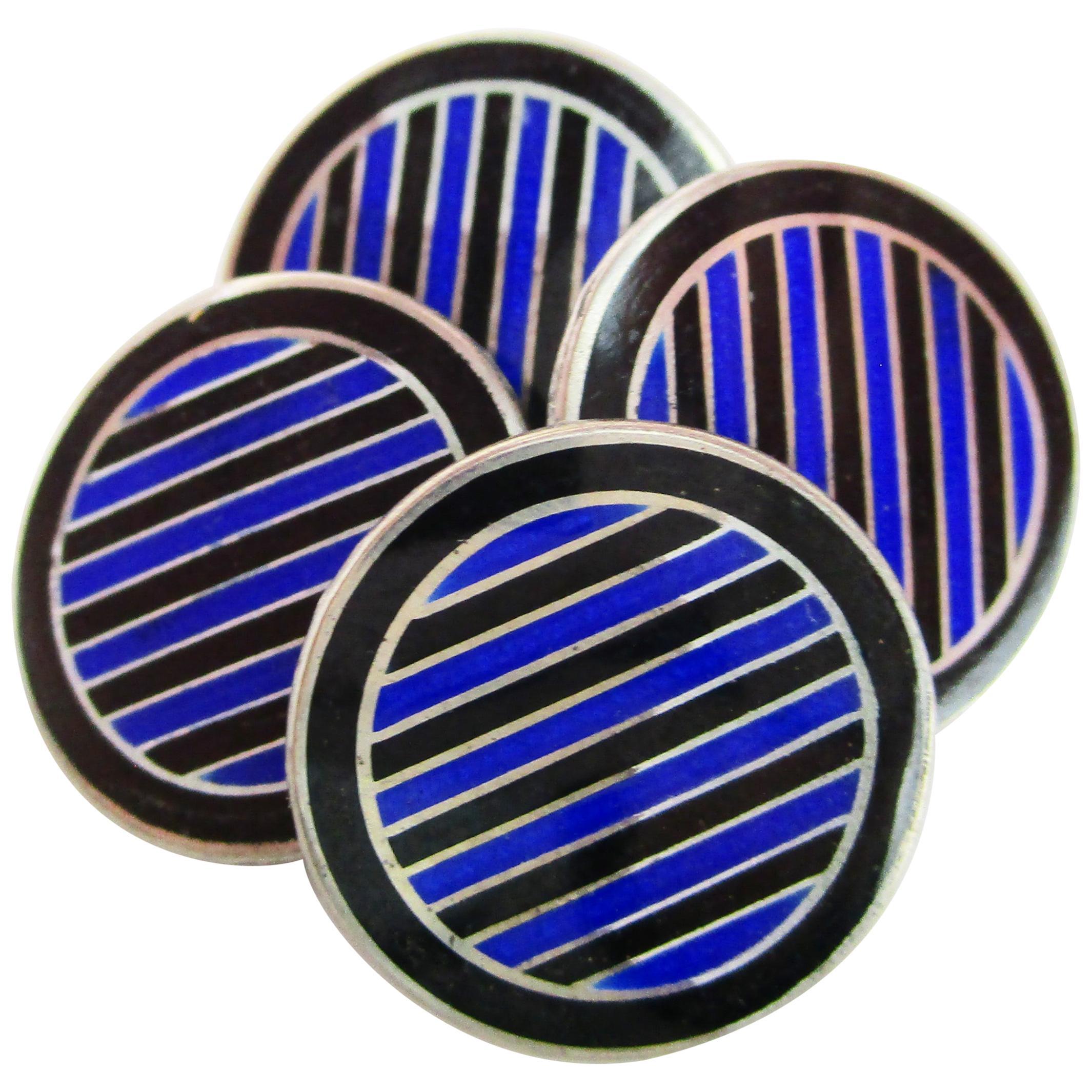Art Deco Sterling Silver Black and Blue Enamel Cufflinks