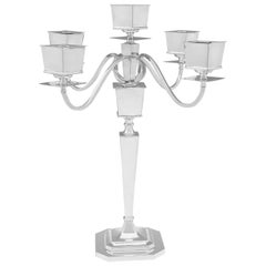 Art Deco Sterling Silver Candelabrum by Britton Gould & Co. Birmingham 1926