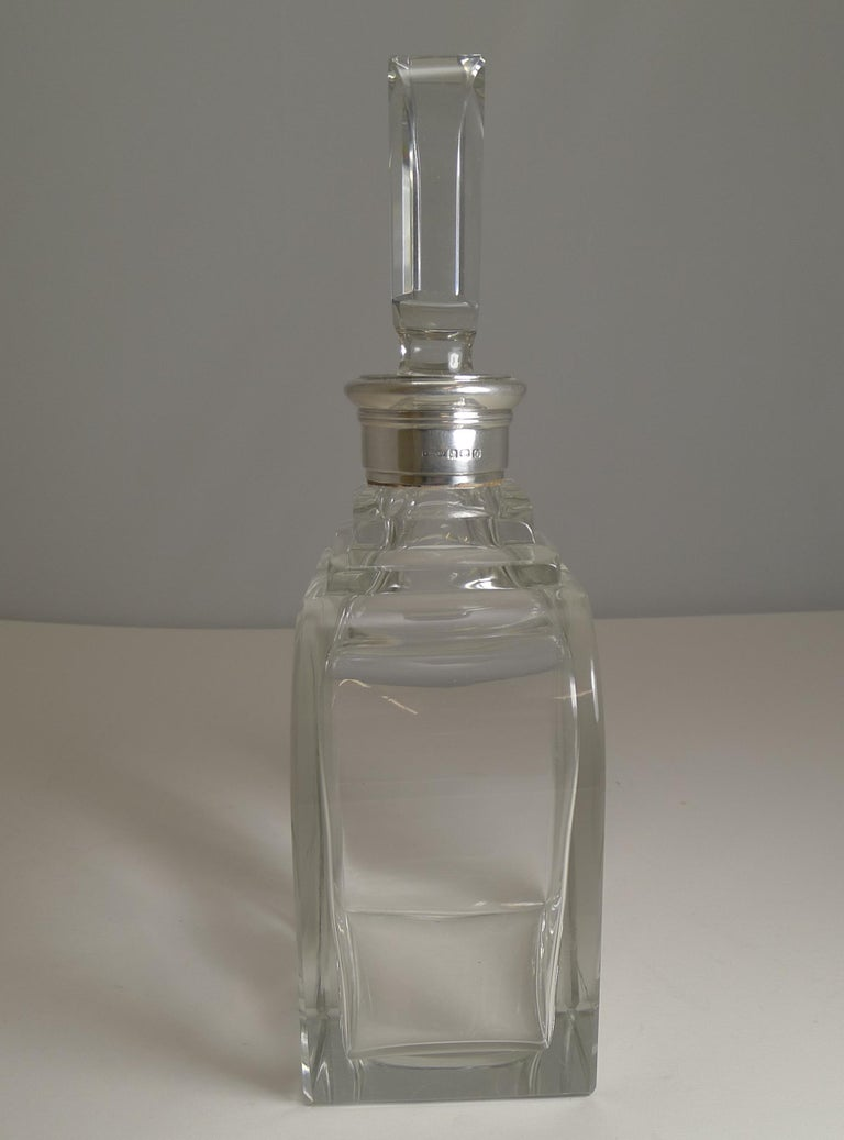 Art Deco Sterling Silver Collared Decanter by Asprey and Co., 1938 In Good Condition For Sale In London, GB