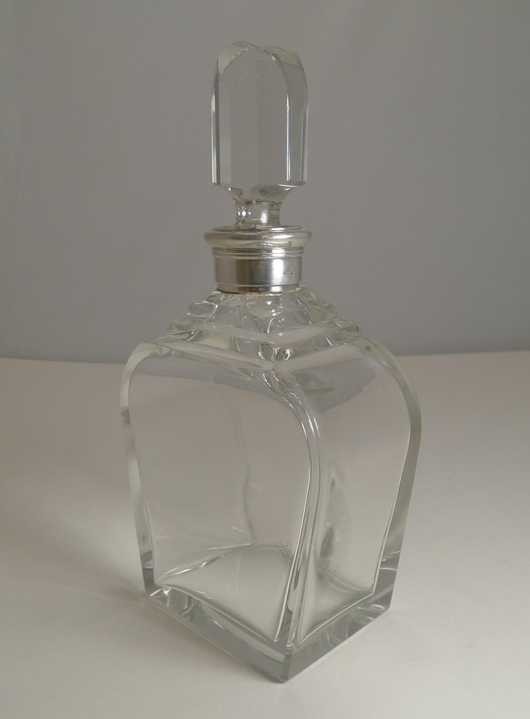 Mid-20th Century Art Deco Sterling Silver Collared Decanter by Asprey and Co., 1938 For Sale