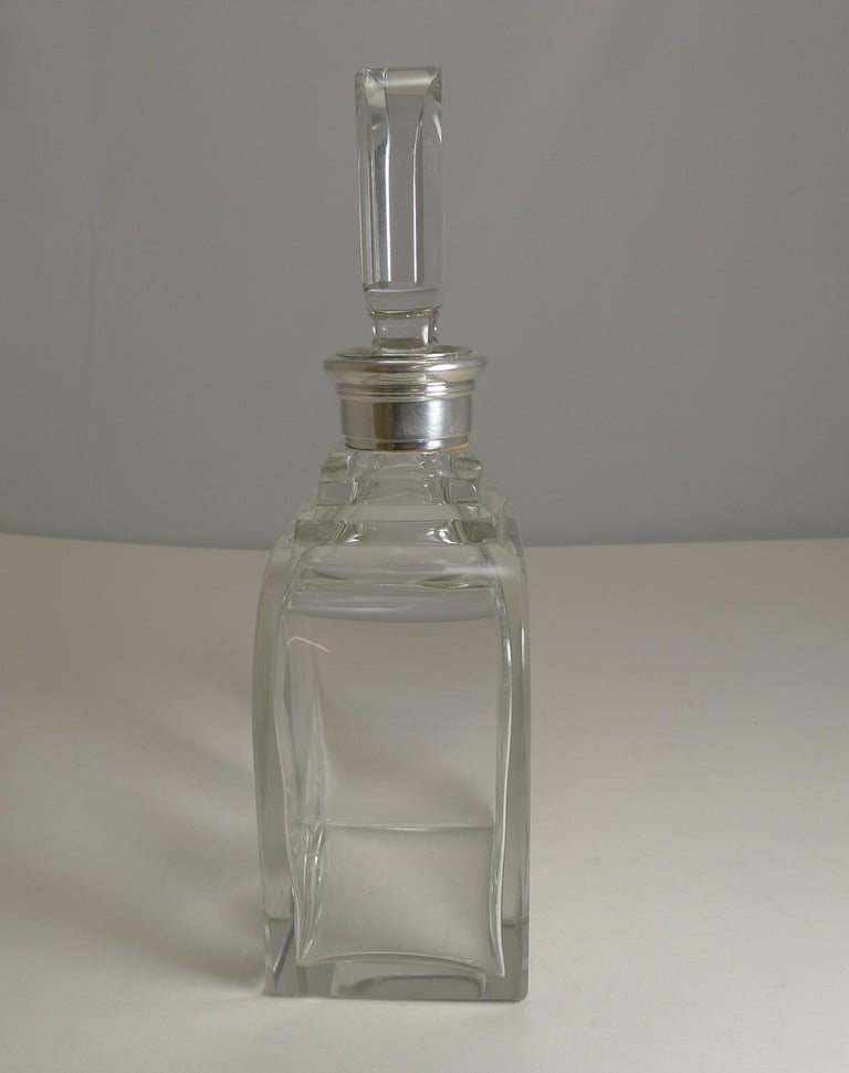 Art Deco Sterling Silver Collared Decanter by Asprey and Co., 1938 For Sale 2