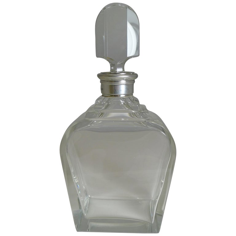 Art Deco Sterling Silver Collared Decanter by Asprey and Co., 1938 For Sale