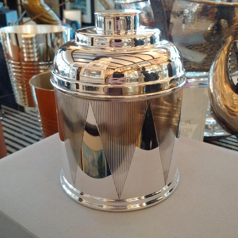 American Art Deco Sterling Silver Drum Cigar Humidor, 1930 For Sale