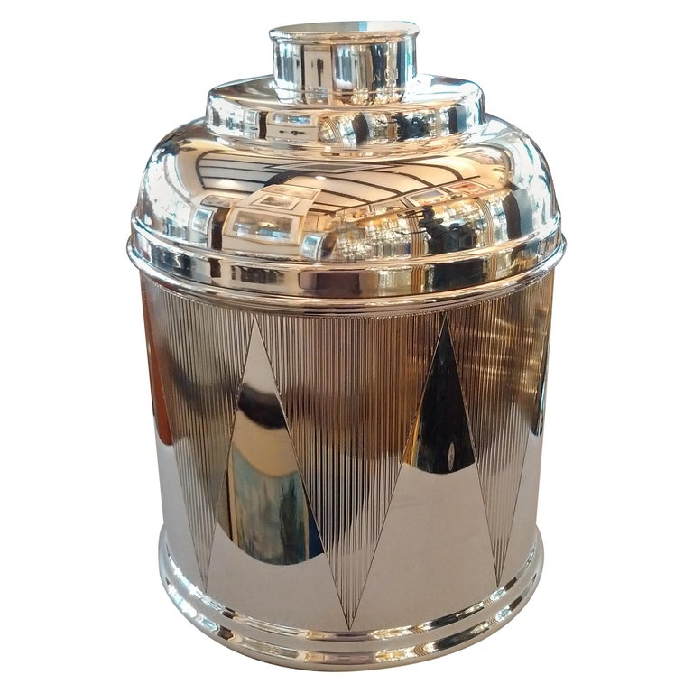 Art Deco Sterling Silver Drum Cigar Humidor, 1930 For Sale