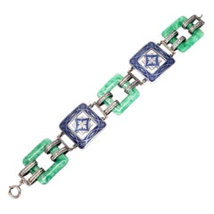 Art Deco Sterling Silver Enamel and Jade Panel Link Bracelet