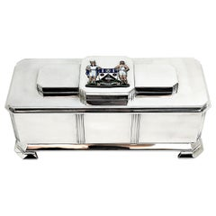 Art Deco Sterling Silver and Enamel Freedom Box, 1941 Arms of Borough of Slough